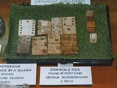 dominoes and dice found at Fort King George